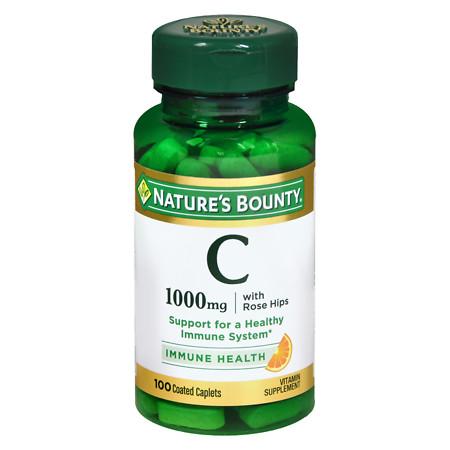 Nature's Bounty Vitamin C-1000mg Plus Rose Hips, Coated Caplets - 100 ea