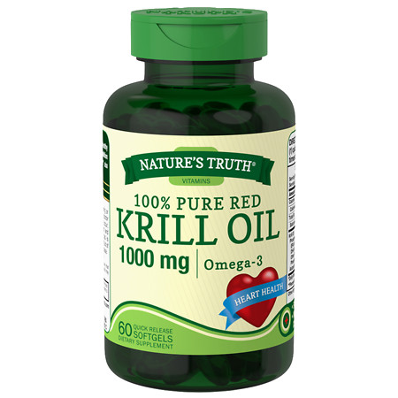 Nature's Truth 100% Pure Red Krill Oil 1000mg Omega-3 - 60 ea