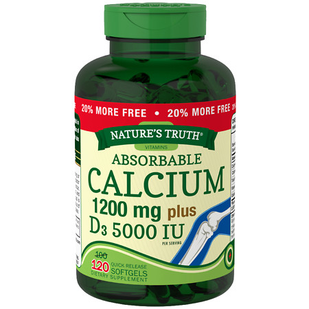 Nature's Truth Absorbable Calcium 1200mg Plus D3 5000 IU, Softgels - 120 ea