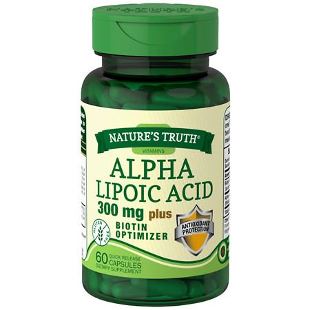 Nature's Truth Alpha Lipoic Acid 300mg Plus Biotin Optimizer, Capsules - 60 ea