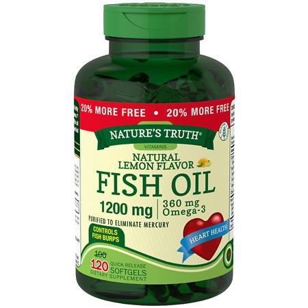 Nature's Truth Fish Oil 1200mg Lemon - 120 ea