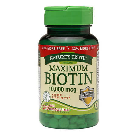 Nature's Truth Maximum Biotin 10,000mcg, Fast Dissolve Tabs Berry - 120 ea