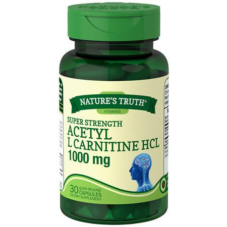 Nature's Truth Super Strength Acetyl L Carnitine HCL 1000mg, Capsules - 30 ea