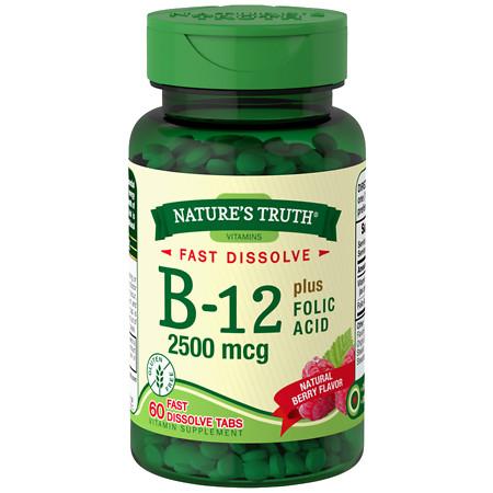 Nature's Truth Vitamin B-12 Plus Folic Acid 2500mcg Berry - 60 ea