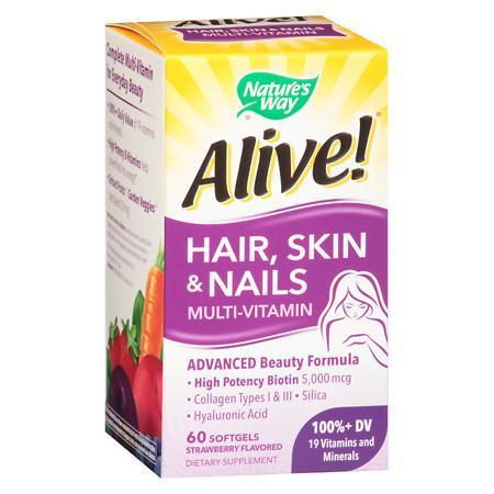 Nature's Way Alive HairSkinNails Multi-Vitamin Softgels Strawberry - 60 ea