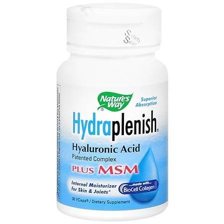 Nature's Way HydraPlenish Hyaluronic Acid Plus MSM Dietary Supplement, Veggie Capsules - 30 ea