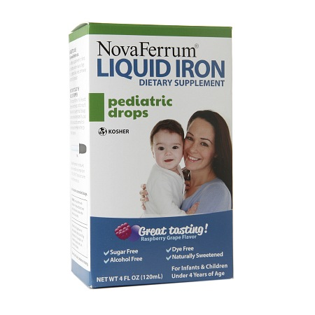 NovaFerrum Pediatric Drops, Liquid Iron Supplement Raspberry Grape - 4 fl oz