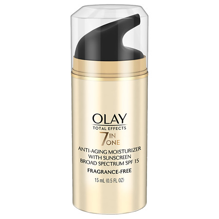 Olay Total Effects 7-In-One Anti-Aging Moisturizer with Sunscreen SPF 15, Trial Size Fragrance-Free - 0.5 oz.