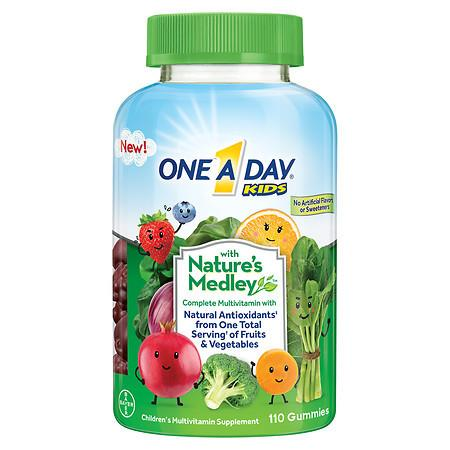 One A Day Kids with Nature's Medley Complete Multivitamin Supplement Gummies Assorted - 110 ea