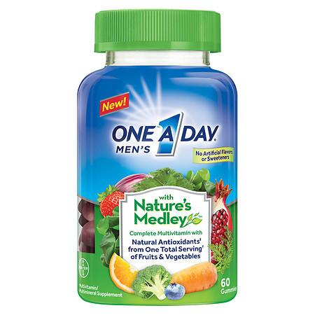 One A Day Men's with Nature's Medley Complete Multivitamin Supplement Gummies - 60 ea