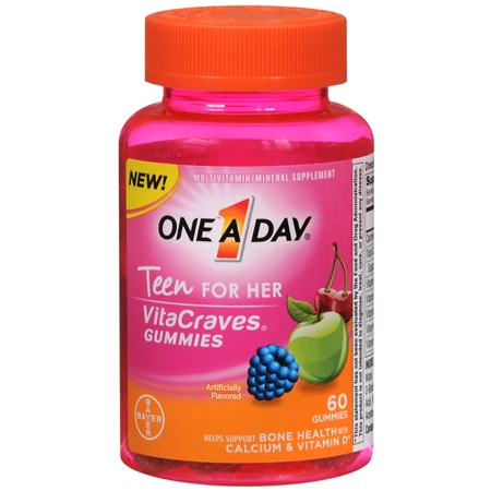 One A Day VitaCraves Teen Vitamins For Her Gummies Assorted - 60 ea