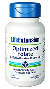 Optimized Folate (L-Methylfolate), 1000 mcg, 100 vegetarian tablets