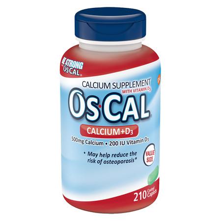 Os Cal Calcium 500mg with Vitamin D3 200 IU, Caplets - 210 ea