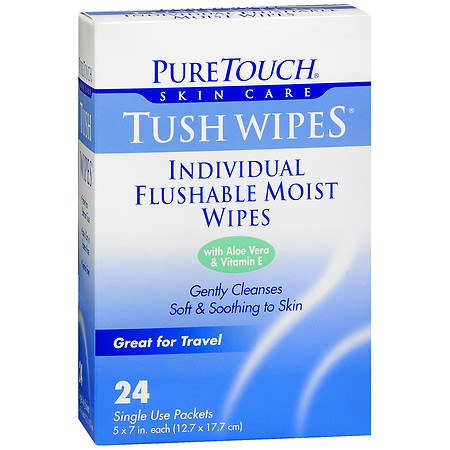 PureTouch Tush Wipes Individual Flushable Moist Wipes - 24 ea