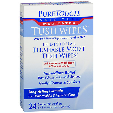 PureTouch Tush Wipes Medicated Individual Flushable Moist Tush Wipes - 24 ea