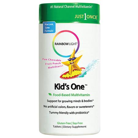 Rainbow Light Kids One MultiStars MultivitaminMineral Chewable Tablets Fruit Punch - 30 ea
