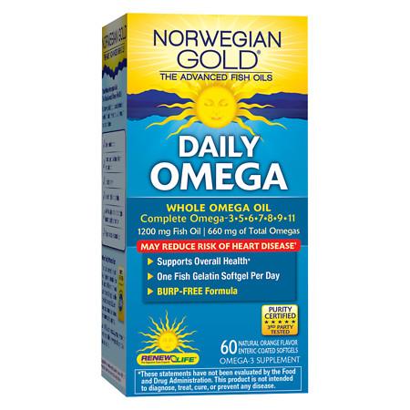 ReNew Life Norwegian Gold Daily Omega, Fish Gels Orange - 60 ea