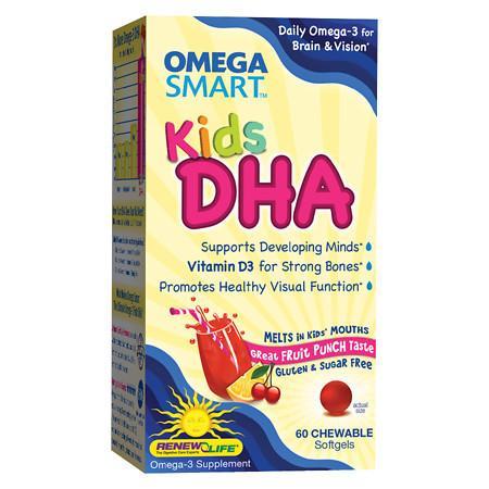 ReNew Life Omega Smart Kids DHA Omega-3 Supplement Chewable Softgels Fruit Punch, Fruit Punch - 60 ea