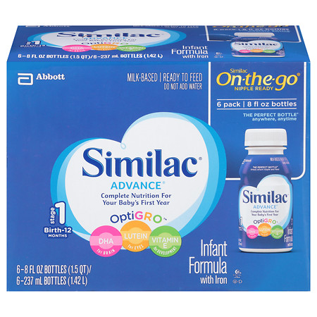 Similac Advance Complete Nutrition, On-the-Go Infant Formula with Iron, Ready to Feed - 6 ea