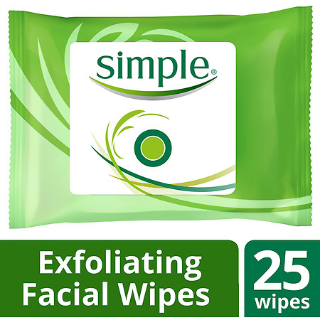 Simple Facial Wipes Kind to Skin Exfoliating - 25 ea