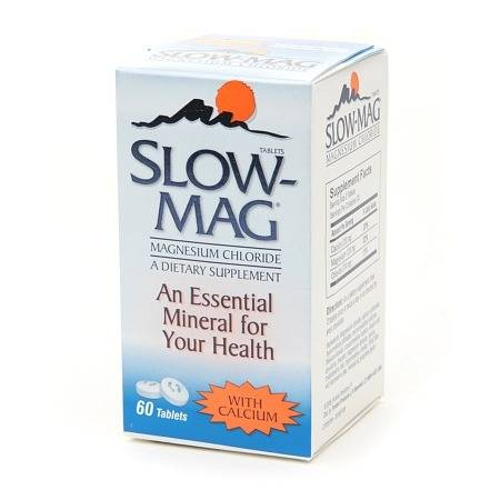 Slow-Mag Magnesium Chloride Dietary Supplement Tablets with Calcium - 60 ea