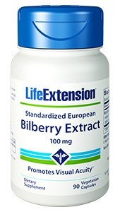 Standardized European Bilberry Extract, 100 mg, 90 vegetarian capsules