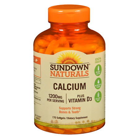 Sundown Naturals Calcium plus Vitamin D3, 1200mg, Softgels - 170 ea