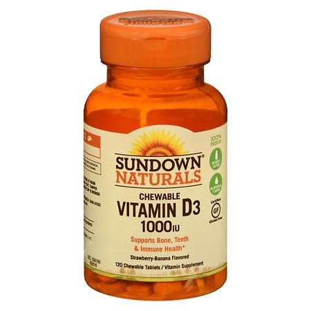 Sundown Naturals Chewable Vitamin D3 1000 IU, Tablets Strawberry-Banana - 120 ea