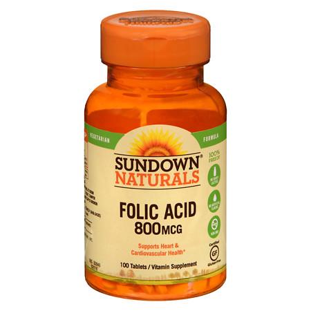 Sundown Naturals Folic Acid 800 mcg Dietary Supplement Tablets - 100 ea