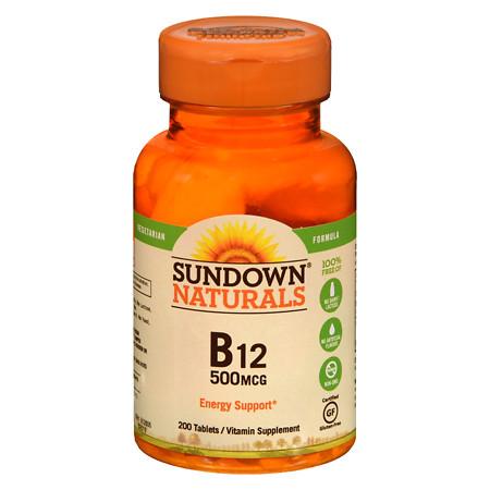 Sundown Naturals High Potency B-12 500mcg, Tablets - 200 ea