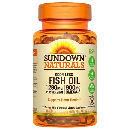 Sundown Naturals Odorless Omega-3 Fish Oil 1,290 mg Dietary Supplement Mini Softgels - 60 ea.