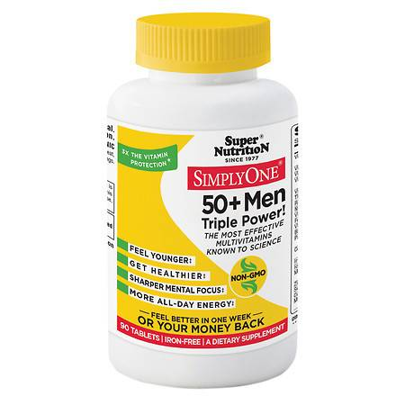 Super Nutrition Simply One 50+ Men High Energy One-Per-Day Vegetarian Iron Free Tablets - 90 ea