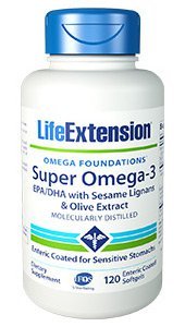 Super Omega-3 EPA/DHA with Sesame Lignans & Olive Extract, 120 enteric coated softgels