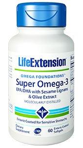 Super Omega-3 EPA/DHA with Sesame Lignans & Olive Extract, 60 enteric coated softgels
