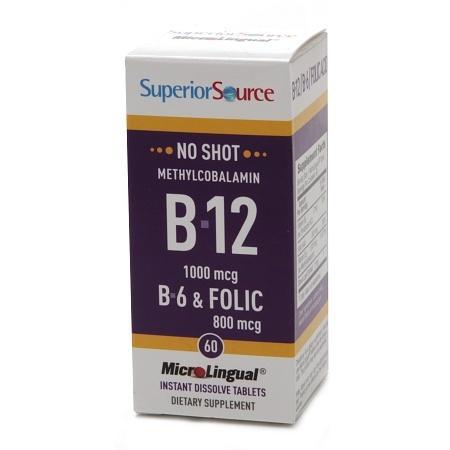 Superior Source No Shot Methylcobalamin B12B6Folic Acid 800mcg, Dissolve Tablets - 60 ea