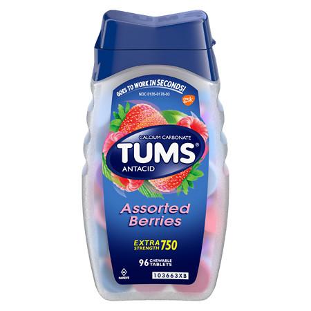 Tums Extra Strength AntacidCalcium Supplement Assorted Berries - 96 ea