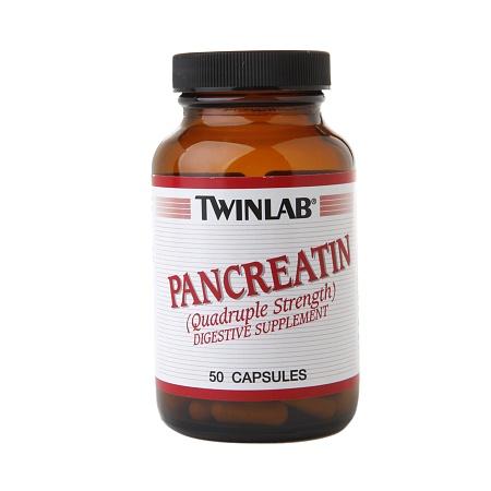 Twinlab Pancreatin Quadruple Strength Digestive Supplement Capsules - 50 ea