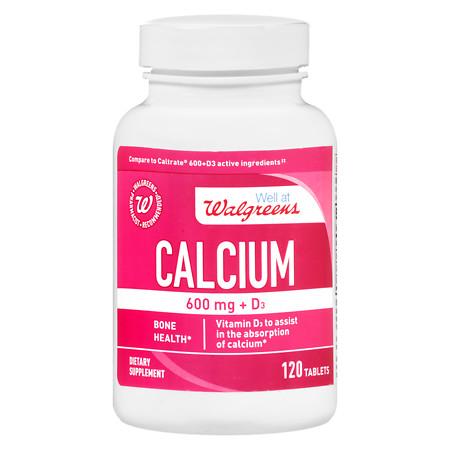 Walgreens Calcium 600 mg + D3 Tablets - 120 ea