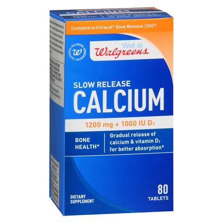 Walgreens Calcium Slow Release 1200mg + 1000 IU D3, Tablets - 80 ea