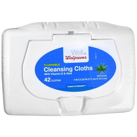 Walgreens Flushable Cleansing Cloths with Vitamin E and Aloe - 42 ea