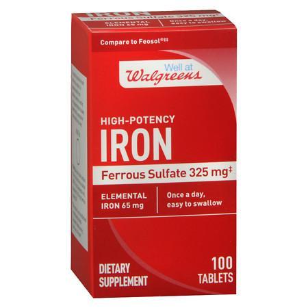 Walgreens High-Potency Iron 65mg, Ferrous Sulfate 325mg, Tablets - 100 EA