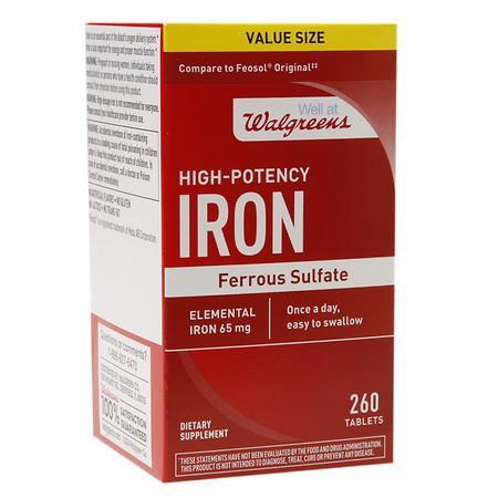Walgreens High-Potency Iron, Ferrous Sulfate, Tablets - 260 ea