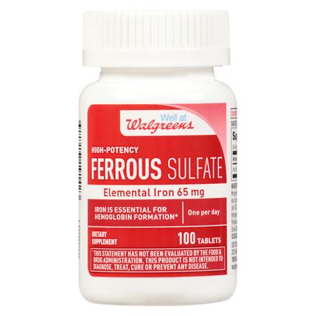 Walgreens Iron Ferrous Sulfate 65 mg Supplement - 100 ea