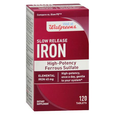Walgreens Iron Slow Release High Potency Ferrous Sulfate 45mg, Tablets - 120 ea