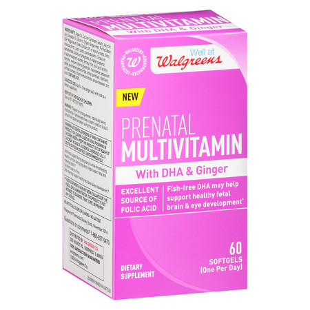 Walgreens Prenatal Multivitamin With DHA & Ginger Softgels - 60 ea