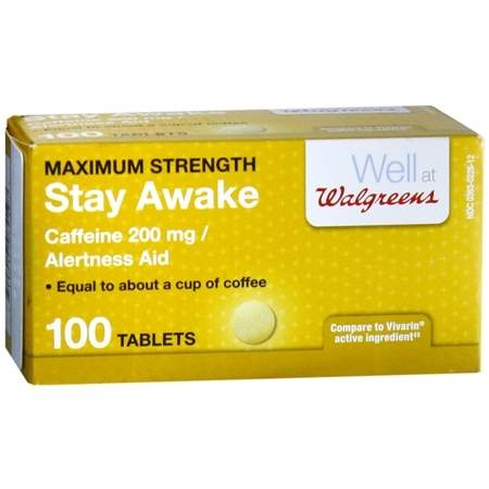 Walgreens Stay Awake Caffeine 200 mg Alertness Aid Tablets - 100 ea