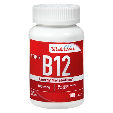 Walgreens Vitamin B12 Energy Metabolism 100mcg, Tablets - 100 ea