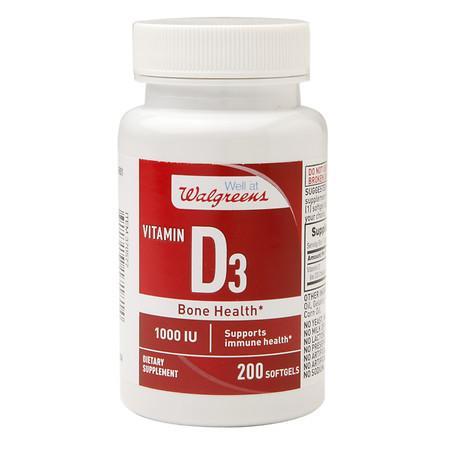 Walgreens Vitamin D3 1000 IU, Softgels - 200 ea