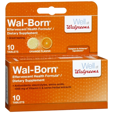 Walgreens Wal-Born Dietary Supplement Effervescent Tablets Orange - 10 ea