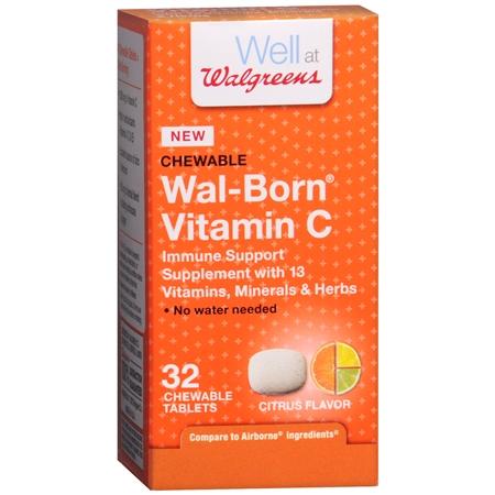 Walgreens Wal-Born Vitamin C Immune Support Supplement Chewable Tablets Citrus - 32 ea